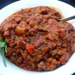 Boilermaker Tailgate Chili Recipe - Ground beef, Italian sausage, beans, and a tomato base come together with lots of flavor and spice in this popular chili recipe. It's perfect for tailgating before football games or any time of year.
