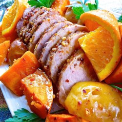 Bourbon Spiced Pork with Sweet Potatoes and Apples