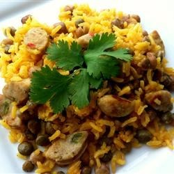 Rice with Pigeon Peas and Sweet Italian Chicken Sausage
