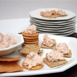 Salmon Spread II Recipe - Poached salmon elevates a simple cream cheese spread to new heights! Serve with crackers.