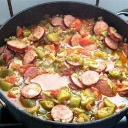 Smothered Okra with Smoked Sausage