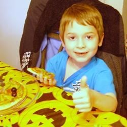 Gabe giving his Pre-Halloween Halloween party the thumbs up!