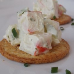 Delicious Krabby Salad Dip Recipe - This is a crab salad made with imitation crab, I spice it up with a spicy seasoned salt. Great appetizer on crackers!  Whenever I go to a party, I get requested to make this.  I never come home with leftovers!