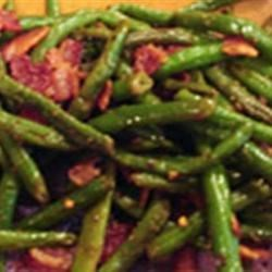 Green Bean and Bacon Saute Recipe - Green beans are sauteed in bacon grease and tossed with garlic and red pepper flakes for a side dish with some zing.