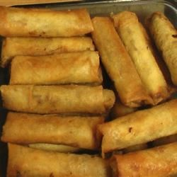 Lumpia (Shanghai version) Recipe - A recipe I know all Filipinos are proud of! Lumpia (shanghai type) is a type of egg roll, except it's mainly filled with meat. You could use pork or beef or both! It's a yummy recipe and great to serve as finger food. I like to use both beef and pork but you can substitute one for the other. VERY EASY!