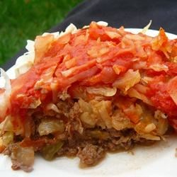 Sweet and Sour Beef and Cabbage Recipe - Beef and cabbage are cooked in a sweet-and-sour tomato sauce in this one-dish meal.