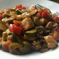 Stir-Fried Vegetables with Chicken or Pork Recipe - An Asian-style stir-fry with lots of vegetables, and your choice of chicken or pork.