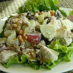 Julie's Chicken Salad Recipe -  Silken avocado, tart apple and sweet grapes and raisins make this a splendid chicken salad.