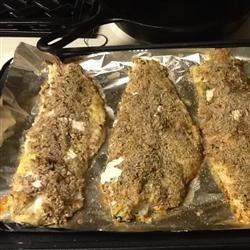 Pecan-Crusted Trout Recipe - Trout fillets are coated in crunchy seasoned pecans and baked for an easy but elegant seafood dinner.