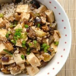 Tofu with Ground Pork Stir-Fry Recipe - Asian style stir-fried tofu with ground pork and diced shiitake mushrooms. Serve over steaming rice. Delicious!