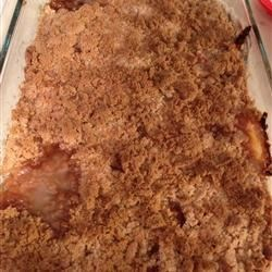Easy Peach Crisp II Recipe - My family actually calls this peach cobbler but the crispy shortbread-type crust makes it a crisp. Very good with ice cream or sprinkled with pecans before baking.