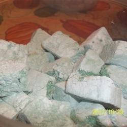Green-banana marshmallows using the Spooky Homemade Marshmallow recipe from Karo here on AR.