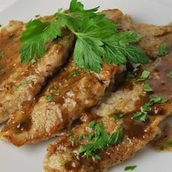 Terri's Veal Marsala Recipe - The Marsala sauce, when made with DRY Marsala wine,  is not too sweet. This recipe can be used with veal, pork or chicken. I prepare this dish on a regular basis as it is quick, simple and delicious. This recipe can be made ahead of time. Simply reduce the amount of time to 5 minutes that the meat is simmered in step 4 to 5 minutes. Place meat in a covered casserole dish, finish off sauce according to directions above, pour sauce over meat and refrigerate. Reheat the dish in either an oven preheated to 350 degrees F (175 degrees C) for 15 minutes OR simmer in a pan on top of the stove just until hot.