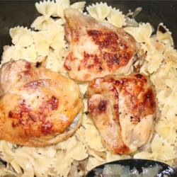 Portobello Lemon Chicken Recipe - Bone-in chicken pieces of your choice are roasted over onions and portobello mushrooms, and seasoned with garlic salt and lemon.  A great base recipe with room for spicy creativity!