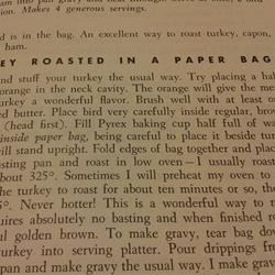 Turkey roasted in a paper bag....another reason I like this book!