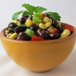 Spicy Black Bean Salad Recipe - Black beans, corn, salsa, cilantro, and lime juice are combined to make a spicy and refreshing salad. It is perfect for dipping tortilla chips.