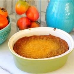 Gram's Persimmon Pudding Recipe - A simple baked persimmon pudding with just a hint of cinnamon. This recipe was found in my grandma's recipe box. I made it for Thanksgiving and it was a huge hit!