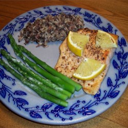 Citrus Broiled Alaska Salmon Recipe - Salmon fillets are topped with red wine vinegar, orange segments, and green onions for an easy, elegant dish that's ready in 30 minutes.
