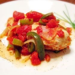 Chicken Creole Recipe - A simple vegetable saute with a little cayenne makes a tasty sauce for baked chicken.