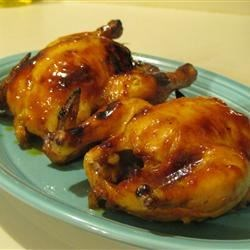 Orange Cornish Hen for Two Recipe - Cornish game hen roasted in a honey orange glaze is the perfect dinner for two when served with wild rice.