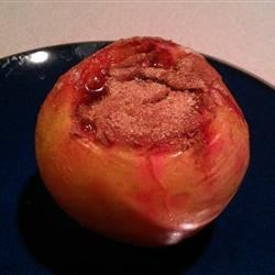 Baked Stuffed Apple Recipe - An apple is filled with a cinnamon cheesecake center.  I used a Braeburn apple but any variety will work.  Great for a cold night! Serve with whipped cream or a scoop of vanilla ice cream.