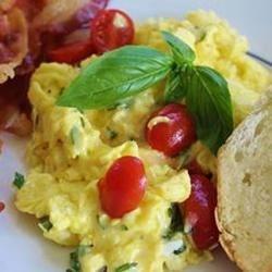 Creamy Cheesy Scrambled Eggs with Basil