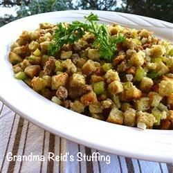 Grandma Reid's Stuffing Recipe - The addition of chopped apples and browned sausage are what make this bread stuffing unique.  This recipe yields enough dressing to stuff a 10 to 12 pound turkey.