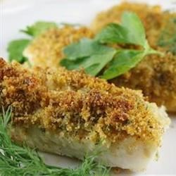 Cod with Italian Crumb Topping Recipe - Baked cod with a parmesan cheese, cornmeal, and italian seasoned crumb topping.