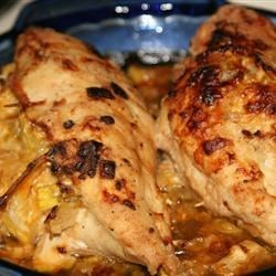 Squash Stuffed Chicken Breasts Recipe -  Vegetables, cheese and your favorite squash--acorn, butternut or even pumpkin--make a nutritious filling for chicken that also happens to taste terrific.