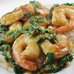 My Special Shrimp Scampi Florentine Recipe - This shrimp scampi has the fresh flavors of tomatoes, spinach, and pesto.  Serve over rice with hot Italian bread on the side.