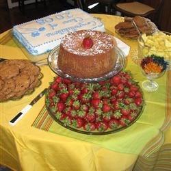 Cream Cheese Bourbon pound cake with fresh strawberries