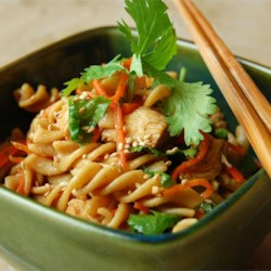 Sesame Pasta Chicken Salad Recipe and Video - A refreshing light pasta salad with a delicious Asian flair. Great for a summer cookout or picnic.