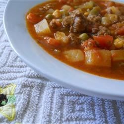 Ground Beef Vegetable Soup Recipe - This is a satisfying, very easy, and delicious ground beef and vegetable soup to serve anytime of the year.