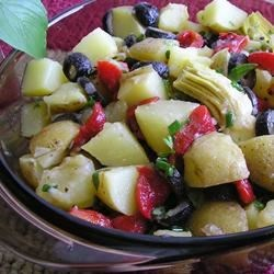 Balsamic Vinegar Potato Salad Recipe - If you enjoy marinated potato salads, this recipe is for you.  Definitely a delicious way to enjoy potato salad. I used roasted peppers from a jar.  Just as good as fresh.