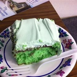 "Creme de Menthe Cake I Recipe - This quick recipe uses regular cake mix, any brand, and any type of whipped topping.   It is a great dessert for after dinner, or anytime and especially a treat for St. Patrick's Day (easy way to get something ""green"").  You can use creme de menthe flavoring if you don't have the actual liqueur."