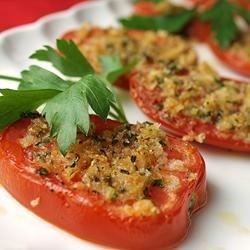 Provincial Tomatoes Recipe - Delicious fresh tomatoes broiled with a tasty cheese topping.