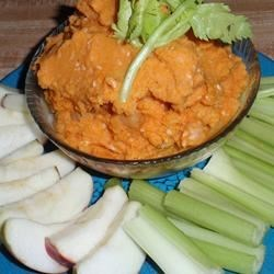 Sweet Potato Hummus Recipe - A hearty and flavorful golden hummus has roasted sweet potatoes plus Mediterranean-inspired seasonings for a sweet and savory appetizer. Serve with pita wedges, crackers, or cut veggies.