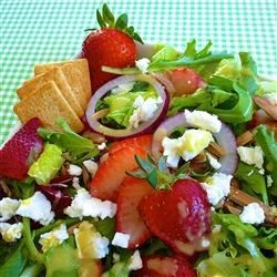 Emily's Strawberry Balsamic Salad Recipe - Bursting with tangy flavor, a rich balsamic dressing seasoned with garlic, mustard, honey, and shallots perfectly complements a green salad garnished with strawberries, toasted almonds, and feta cheese.