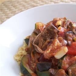 Grilled Vegetables in Balsamic Tomato Sauce with Couscous