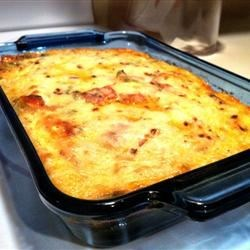 Leftover Pizza Breakfast Casserole