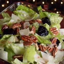Quick Christmas Salad Recipe - Use a prepared balsamic vinaigrette to dress this simple salad of baby greens, pecans, dried cherries, and Parmesan cheese.