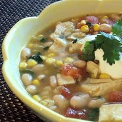Slow Cooker White Chili Recipe - This white chili with chicken, green chile peppers, and corn is made in the slow cooker.