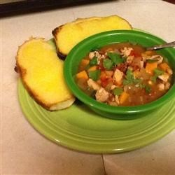 Sweet and Spicy Soup with Black-Eyed Peas and Sweet Potato Recipe - Contrasting flavors of sweet, spicy, and earthy combine in this thick, hearty soup.  It's equally tasty served hot or cold.