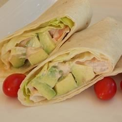 Shrimp and Avocado Wraps Recipe - These quick, delicious wraps containing shrimp, avocado, and a tangy dressing are great for lunch or a weeknight dinner.