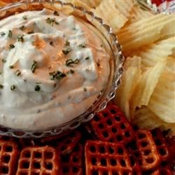 Ultra Easy Cream Cheese Dip Recipe - Utterly simple, softened cream cheese is mixed with milk and seasoned with garlic salt to make a creamy dip that's particularly tasty with potato chips.