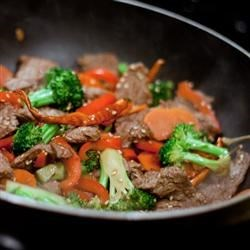 Quick Beef Stir-Fry Recipe - Busy days call for easy weeknight meals. Thin slices of beef sirloin are quickly stir-fried with colorful vegetables and soy sauce. Add some grated ginger for an extra bite.