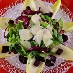 Beet Salad Recipe - This slightly sweet salad of endive and mixed greens, topped with roasted beets and feta cheese, adds a classy accompaniment to any party!