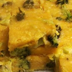 Broccoli Cheese Squares Recipe - Broccoli is baked into a cheesy egg mixture creating quiche-like squares perfect for a Thanksgiving appetizer or brunch menu item.