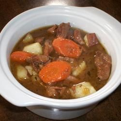 Diego's Special Beef Stew Recipe - This rich beef stew is flavored with red wine and herbs, and loaded with onion, potato, and carrots for a delicious cool-weather meal.