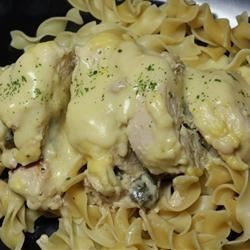 Chicken a la Fire Station Recipe - Chicken breasts are pounded thin, rolled up with butter and seasonings, and then slow-baked in a rich sour cream and sherry sauce.